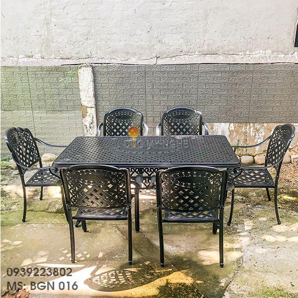 Bàn Ghế Ăn Ngoài Trời Nhôm Đúc - Biệt Thự Nhà Hàng BGN016 - Hình 16