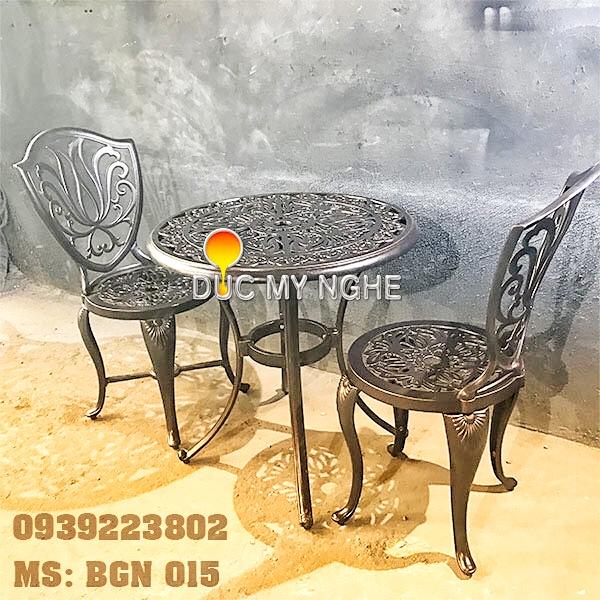Bàn Ghế Nhôm Đúc Ngoài Trời Giá Rẻ - Cafe Gia Đình BGN015 - Hình 2