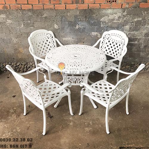 Bàn Ghế Nhôm Đúc Sân Vườn Ngoài Trời - Cafe Nhà Hàng BGN017B - Hình 1
