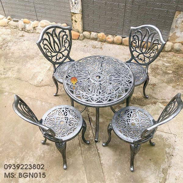 Bàn Ghế Nhôm Đúc Ngoài Trời Giá Rẻ - Cafe Gia Đình BGN015 - Hình 13