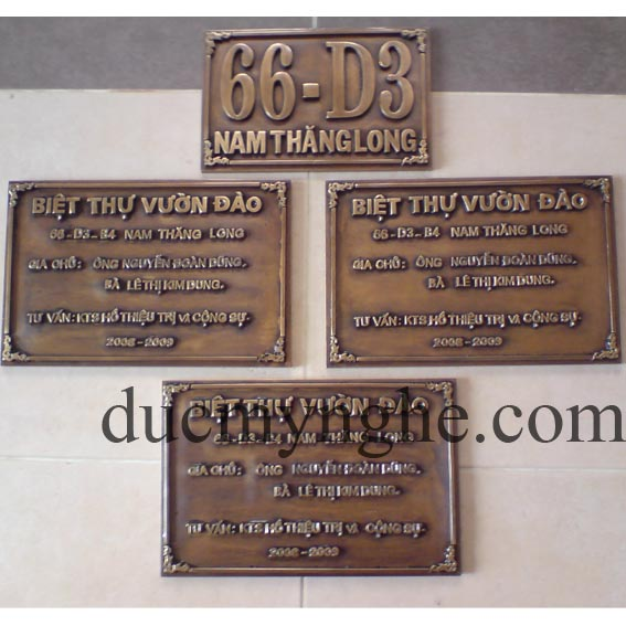 Bảng số nhà biệt thự vườn đào đúc bằng đồng giả cổ chữ nổi 10mm BHLG005 - Hình 1