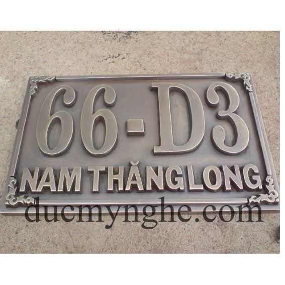 Bảng số nhà biệt thự vườn đào đúc bằng đồng giả cổ chữ nổi 10mm BHLG005 - Hình 3