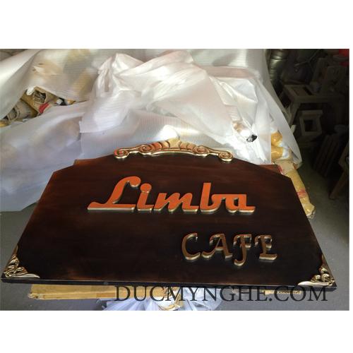 Bảng tên quán cafe Limba đúc nhôm kết hợp chữ đúc đồng vàng bóng BHLG006 - Hình 1