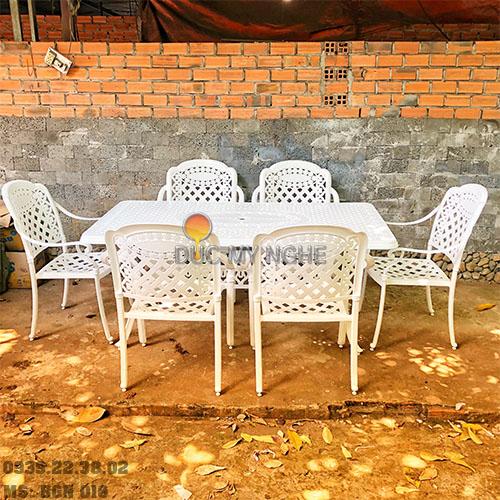 Bàn Ghế Ăn Ngoài Trời Nhôm Đúc - Biệt Thự Nhà Hàng BGN016 - Hình 2