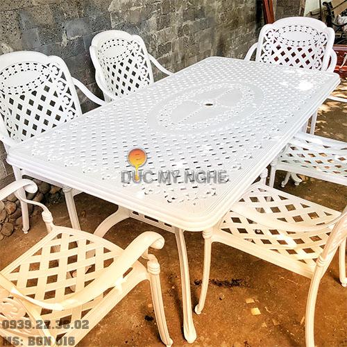 Bàn Ghế Ăn Ngoài Trời Nhôm Đúc - Biệt Thự Nhà Hàng BGN016 - Hình 4