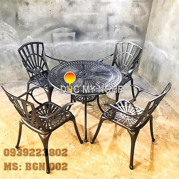 Bàn Ghế Sân Vườn Hợp Kim Nhôm Đúc Gia Đình Khách Sạn BGN002 - Hình 4