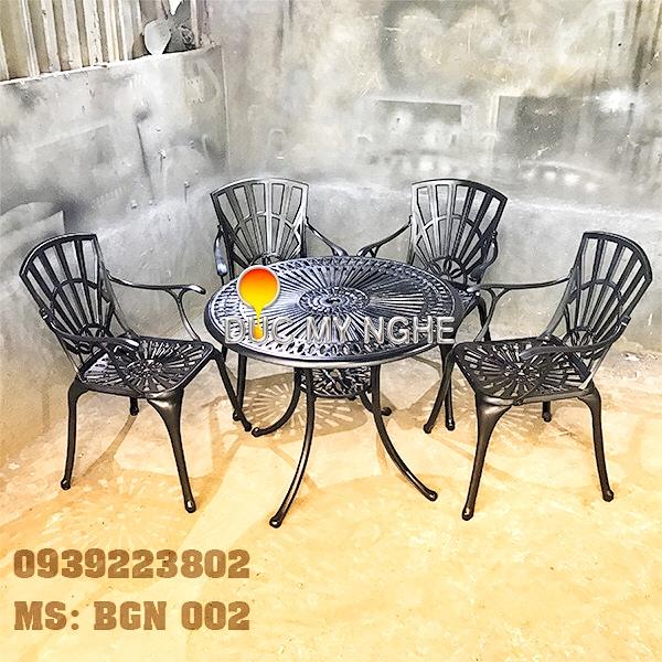 Bàn Ghế Sân Vườn Hợp Kim Nhôm Đúc Gia Đình Khách Sạn BGN002 - Hình 5