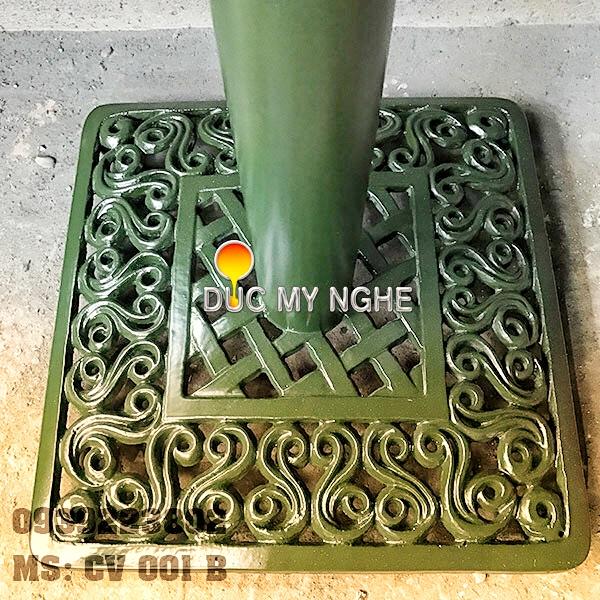 Chân bàn cafe đế vuông hoa văn cổ điển Gang đúc thân sắt CV001B - Hình 3