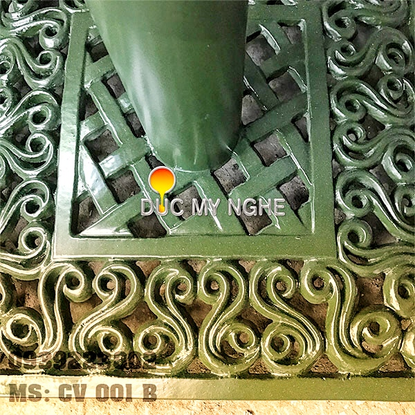 Chân bàn cafe đế vuông hoa văn cổ điển Gang đúc thân sắt CV001B - Hình 5