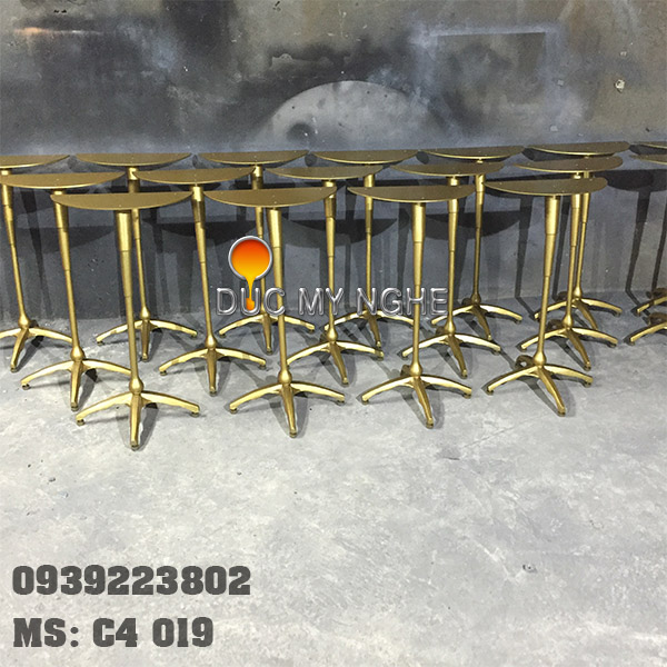 Chân Bàn Decor Gang Đúc - Kiểu Chân Cò Sơn Màu Đồng C4019 - Hình 6