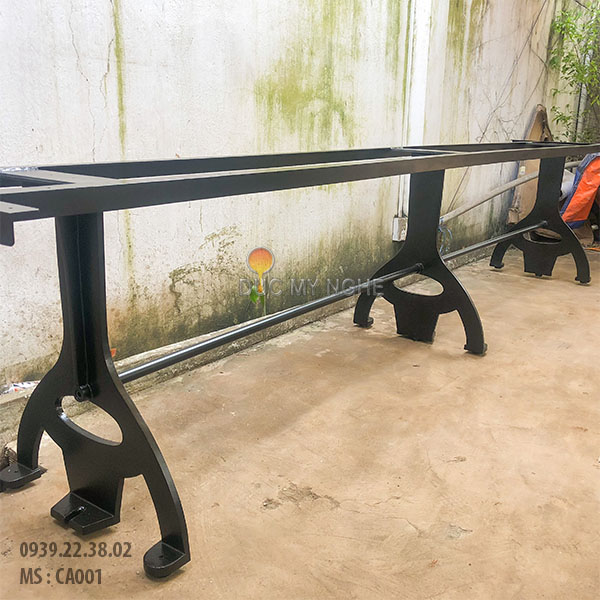 Chân Bàn Gỗ Nguyên Tấm Coffee House Gang Đúc Khung Sắt CA001 - Hình 15