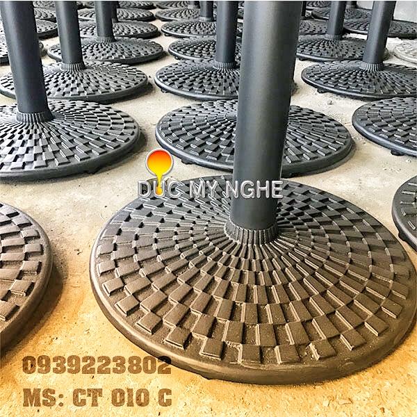 Chân Bàn Nhà Hàng Sắt Ống Đế Tròn 650mm Gang Đúc CT010C - Hình 5