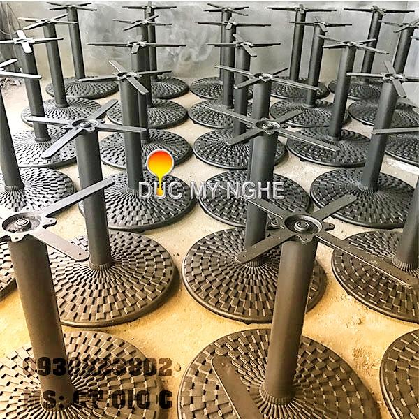 Chân Bàn Nhà Hàng Sắt Ống Đế Tròn 650mm Gang Đúc CT010C - Hình 8