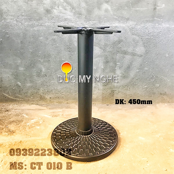 Chân Bàn Quán Ăn Nhanh Trụ Sắt Đế Tròn 450mm Gang đúc CT010B - Hình 1