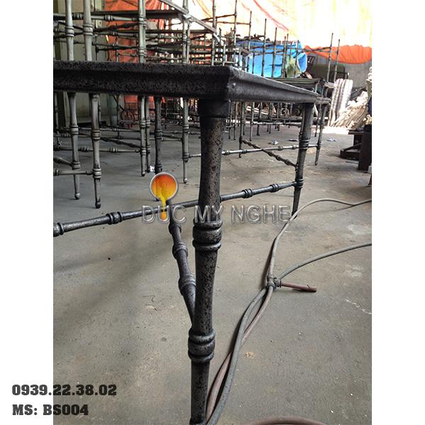 Chân Bàn Sofa Nhôm Đúc Khung Chữ Nhật Gắn Mặt Đá Gỗ BS004 - Hình 2