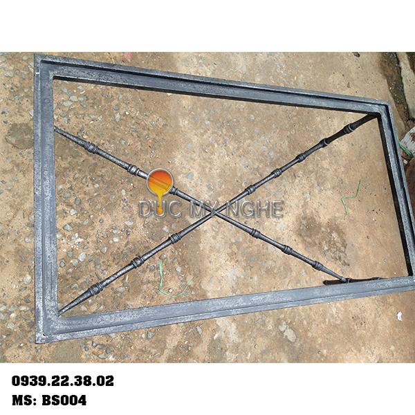 Chân Bàn Sofa Nhôm Đúc Khung Chữ Nhật Gắn Mặt Đá Gỗ BS004 - Hình 3