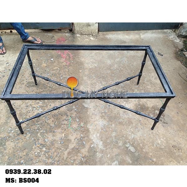 Chân Bàn Sofa Nhôm Đúc Khung Chữ Nhật Gắn Mặt Đá Gỗ BS004 - Hình 4