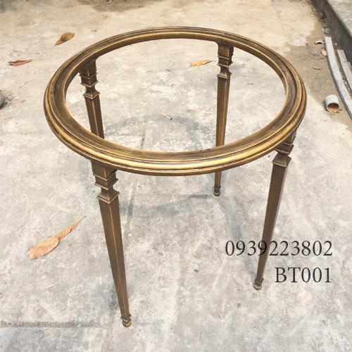 Chân Bàn Sofa Nhôm Đúc Mặt Tròn Gắn Đá Gia Đình Cafe BT001 - Hình 1