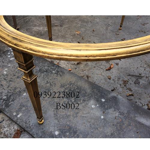 Chân Bàn Sofa Hợp Kim Nhôm Đúc Oval Gắn Mặt Đá Gỗ BS002 - Hình 8