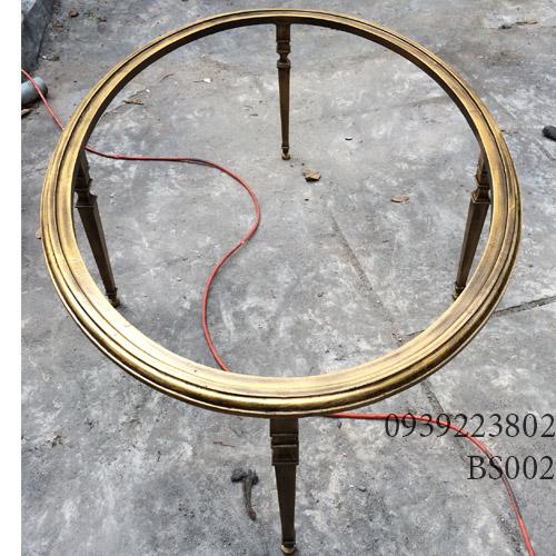 Chân Bàn Sofa Hợp Kim Nhôm Đúc Oval Gắn Mặt Đá Gỗ BS002 - Hình 2