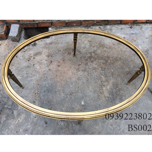 Chân Bàn Sofa Hợp Kim Nhôm Đúc Oval Gắn Mặt Đá Gỗ BS002 - Hình 7