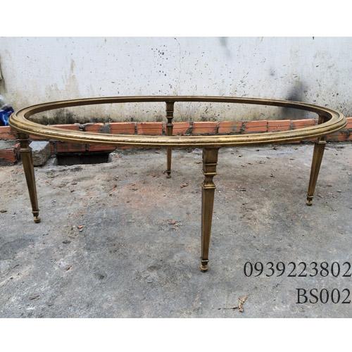 Chân Bàn Sofa Hợp Kim Nhôm Đúc Oval Gắn Mặt Đá Gỗ BS002 - Hình 1