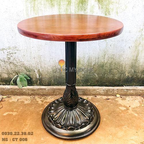 Chân Bàn Tròn Cafe Cổ Điển Gang Đúc Mặt Đá Marble Viền Đồng CT006 - Hình 2