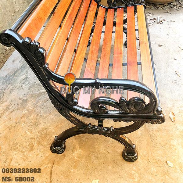 Ghế Băng Công Viên Gang Đúc Ngoài Trời Sắt Nẹp Gỗ Căm Xe Mẫu Đẹp Nhất Tphcm GD002 - Hình 2