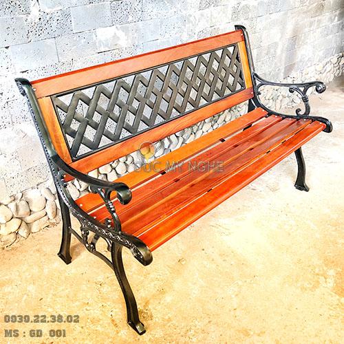 Ghế Băng Dài Gỗ Căm Xe Gang Đúc Công Viên Ngoài Trời Sân Vườn GD001 - Hình 1