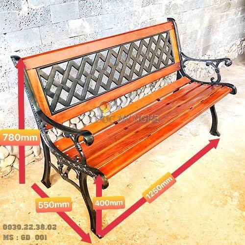 Ghế Băng Dài Gỗ Căm Xe Gang Đúc Công Viên Ngoài Trời Sân Vườn GD001 - Hình 2