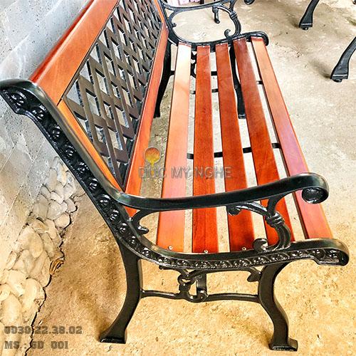 Ghế Băng Dài Gỗ Căm Xe Gang Đúc Công Viên Ngoài Trời Sân Vườn GD001 - Hình 3
