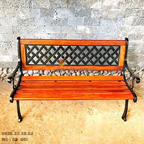 Ghế Băng Dài Gỗ Căm Xe Gang Đúc Công Viên Ngoài Trời Sân Vườn GD001 - Hình 6