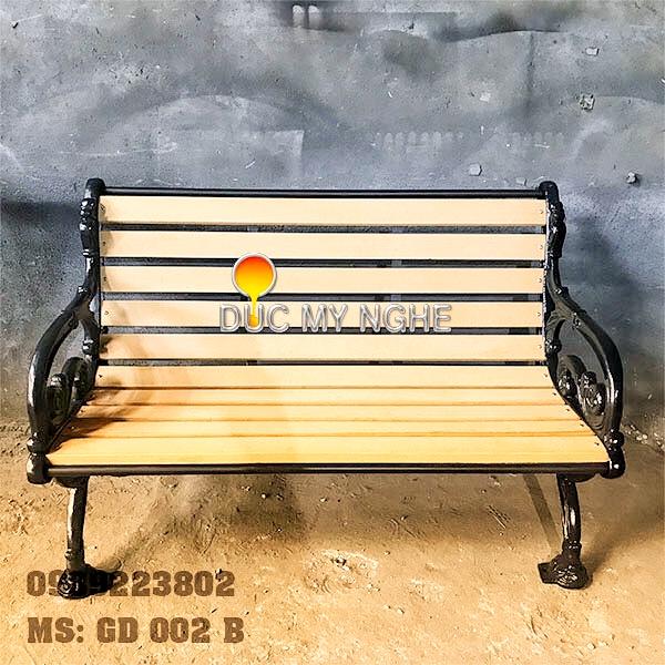 Ghế Băng Dài Công Viên Gang Đúc Gỗ Nhựa Ngoài Trời Sân Vườn Giá Rẻ Tphcm GD002B - Hình 6