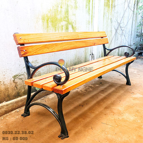 Ghế Công Viên Gang Đúc Gỗ Nhựa Ngoài Trời Sân Vườn Giá Rẻ Ở Tphcm GD009A - Hình 3