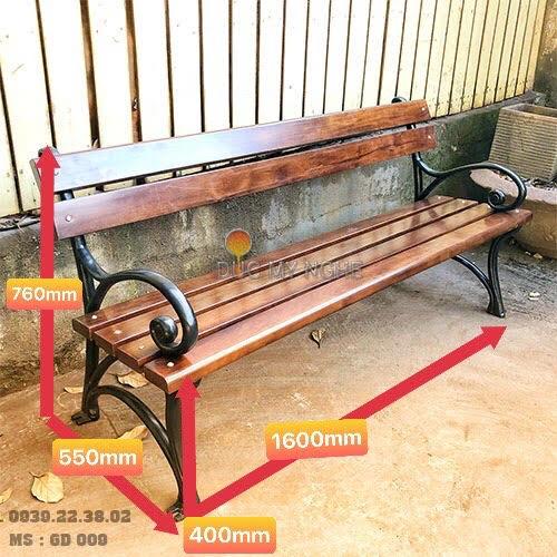 Ghế Công Viên Gang Đúc Gỗ Nhựa Ngoài Trời Sân Vườn Giá Rẻ Ở Tphcm GD009A - Hình 5