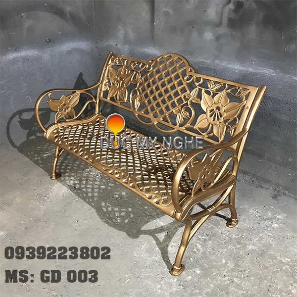 Ghế Băng Dài Ngồi Chờ Nhôm Đúc Ngoài Trời Sân Vuờn GD003 - Hình 11