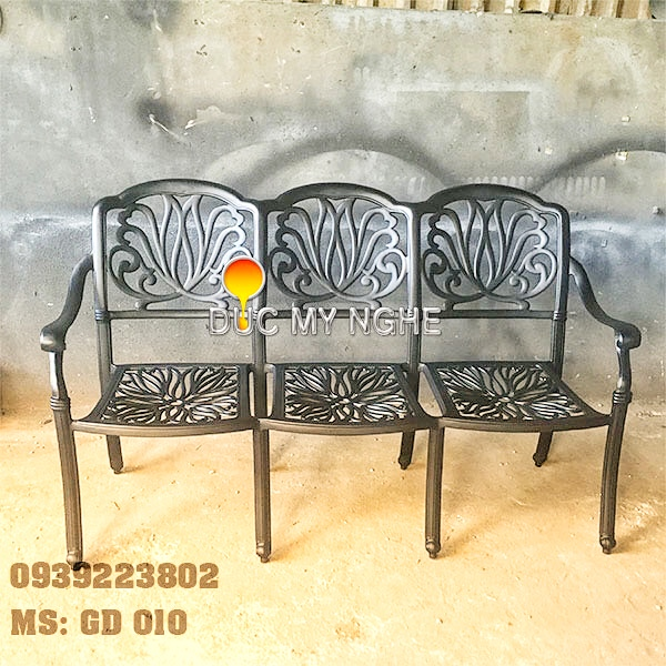 Ghế Băng Dài Ngồi Chờ Nhôm Đúc - Ngoài Trời Sân Vườn Đẹp ở Tphcm GD010 - Hình 2
