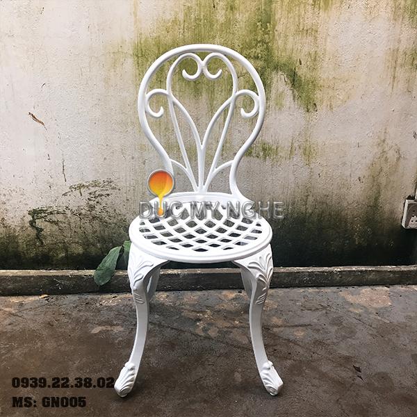 Ghế Nhôm Đúc Cafe Sân Vườn Gia Đình Ngoài Trời Sơn Giả Cổ Đồng GN005 - Hình 4