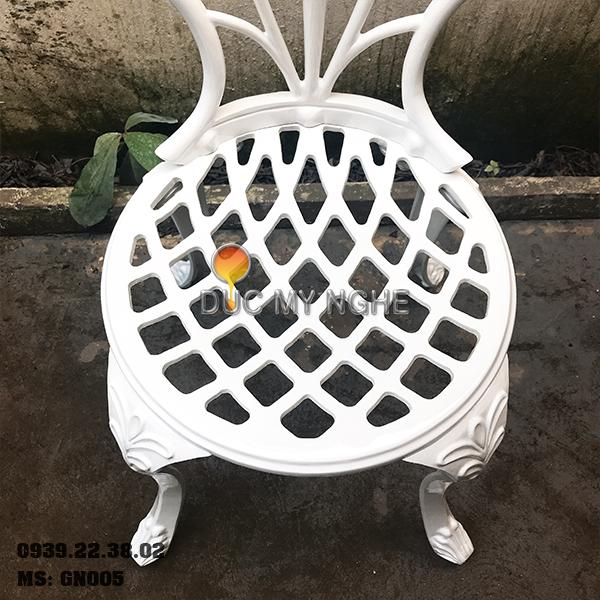 Ghế Nhôm Đúc Cafe Sân Vườn Gia Đình Ngoài Trời Sơn Giả Cổ Đồng GN005 - Hình 5