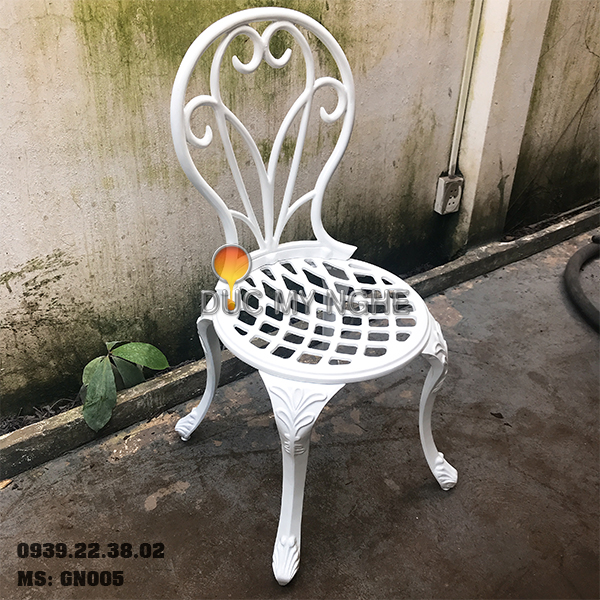 Ghế Nhôm Đúc Cafe Sân Vườn Gia Đình Ngoài Trời Sơn Giả Cổ Đồng GN005 - Hình 8