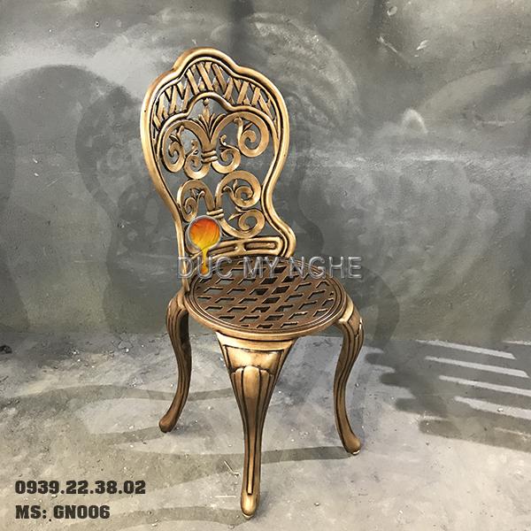 Ghế Nhôm Đúc Cao Cấp Sơn Màu Đồng Giả Cổ Gia Đình Nhà Hàng GN006 - Hình 1