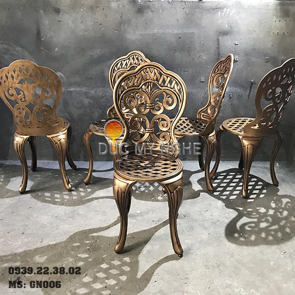 Ghế Nhôm Đúc Cao Cấp Sơn Màu Đồng Giả Cổ Gia Đình Nhà Hàng GN006 - Hình 10