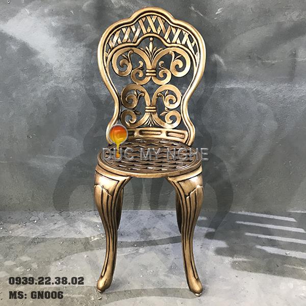 Ghế Nhôm Đúc Cao Cấp Sơn Màu Đồng Giả Cổ Gia Đình Nhà Hàng GN006 - Hình 2
