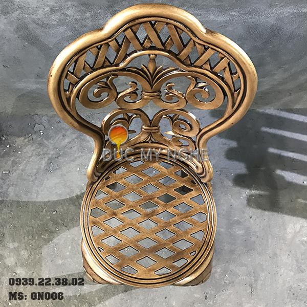 Ghế Nhôm Đúc Cao Cấp Sơn Màu Đồng Giả Cổ Gia Đình Nhà Hàng GN006 - Hình 8