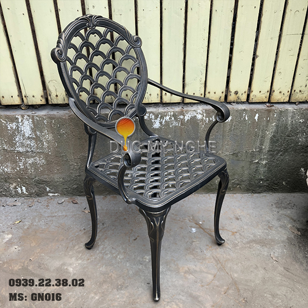 Ghế Nhôm Đúc Ngoài Trời Có Tay Vịn Nhà Hàng Cafe Gia Đình GN016 - Hình 3