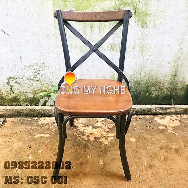 Ghế Sắt Cafe Ngoài Trời Ngồi Gỗ Ash - Trà Sữa Quán Ăn GS001 - Hình 1
