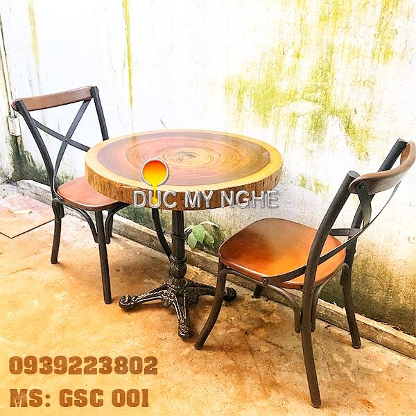 Ghế Sắt Cafe Ngoài Trời Ngồi Gỗ Ash - Trà Sữa Quán Ăn GS001 - Hình 3