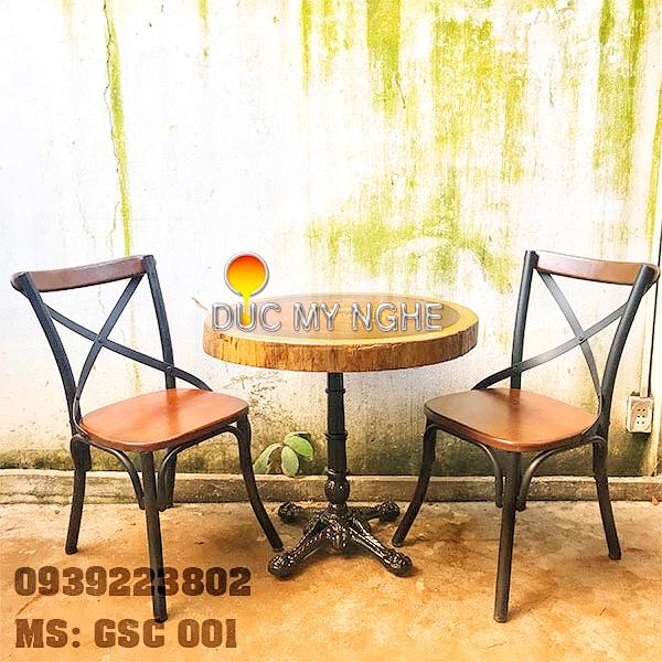 Ghế Sắt Cafe Ngoài Trời Ngồi Gỗ Ash - Trà Sữa Quán Ăn GS001 - Hình 4