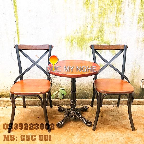 Ghế Sắt Cafe Ngoài Trời Ngồi Gỗ Ash - Trà Sữa Quán Ăn GS001 - Hình 5