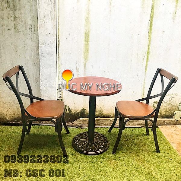 Ghế Sắt Cafe Ngoài Trời Ngồi Gỗ Ash - Trà Sữa Quán Ăn GS001 - Hình 6